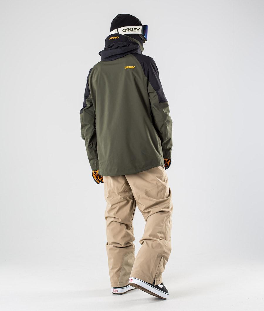 Oakley Lined Shell Anorak Snowboard Jacket Black/Green