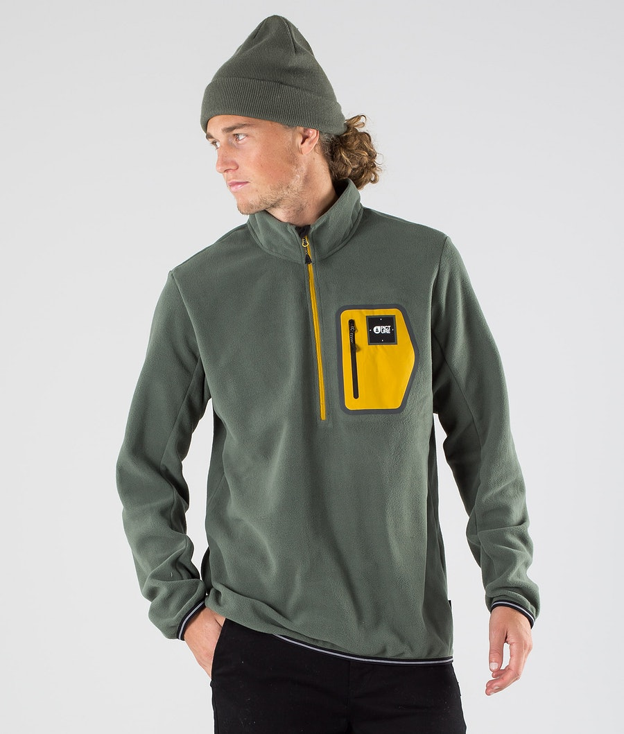Picture Thomas 1/4 Zip Felpa Pile Lichen Green