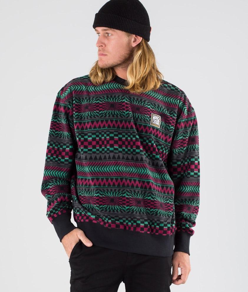 Quiksilver Soul Power Crew Fleece Sweater True Black Capsule Stripe