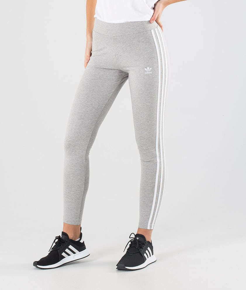 Adidas Originals 3 Stripes Leggings Medium Grey Heather/White