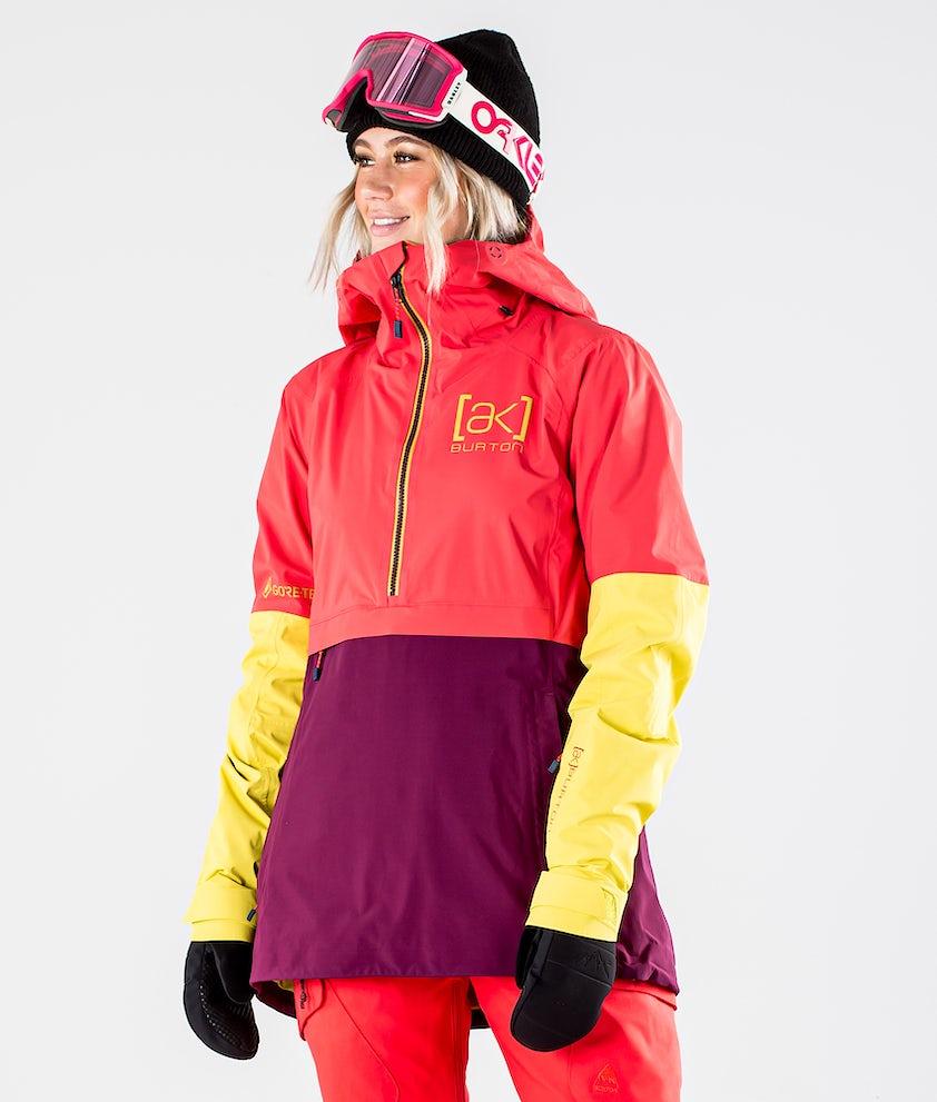 Burton AK GoreTex Kimmy 2L Snowboardjakke Hibiscus Pink/WildBerry/Warm Olive