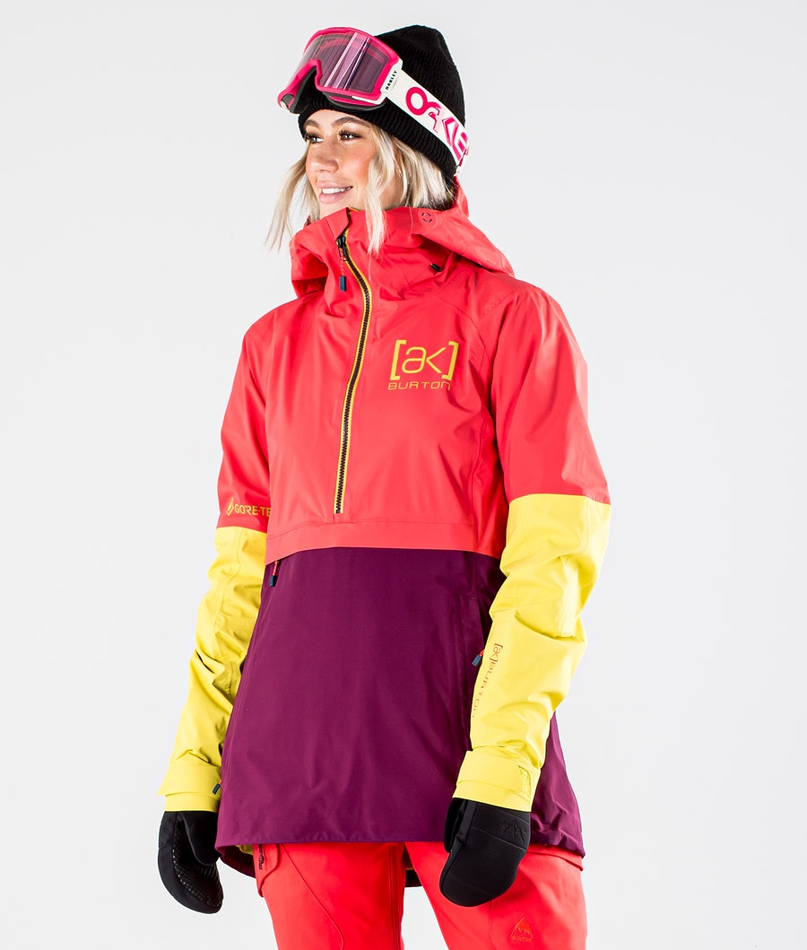 Burton AK GoreTex Kimmy 2L Snowboard jas Hibiscus Pink/WildBerry/Warm Olive