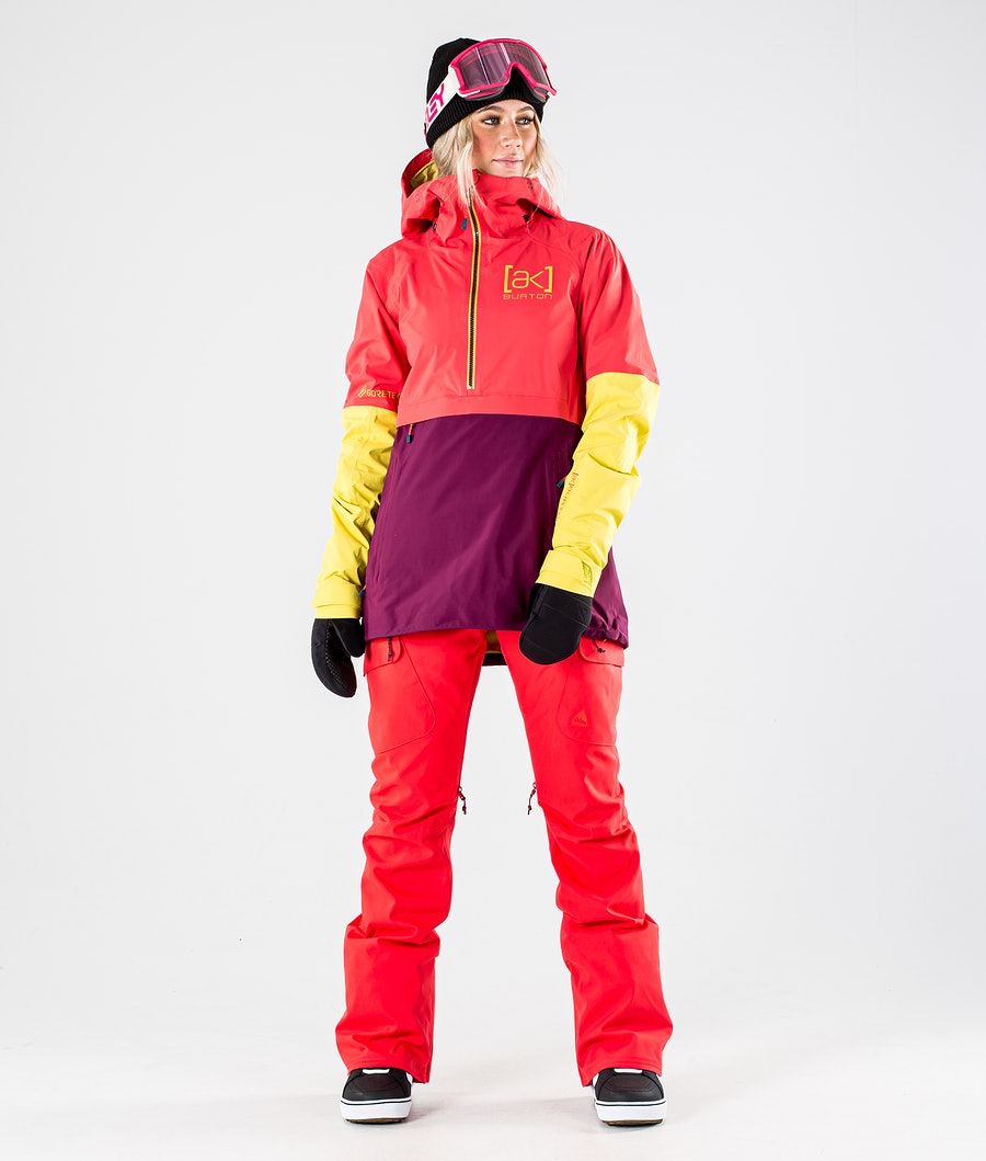 Burton AK GoreTex Kimmy 2L Snowboardjakke Dame Hibiscus Pink/WildBerry/Warm Olive