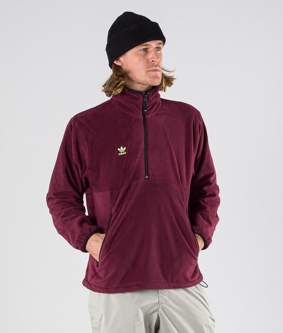 Adidas Snowboarding Polar Anorak Felpa Pile Maroon/Mineral Red/Signal Green