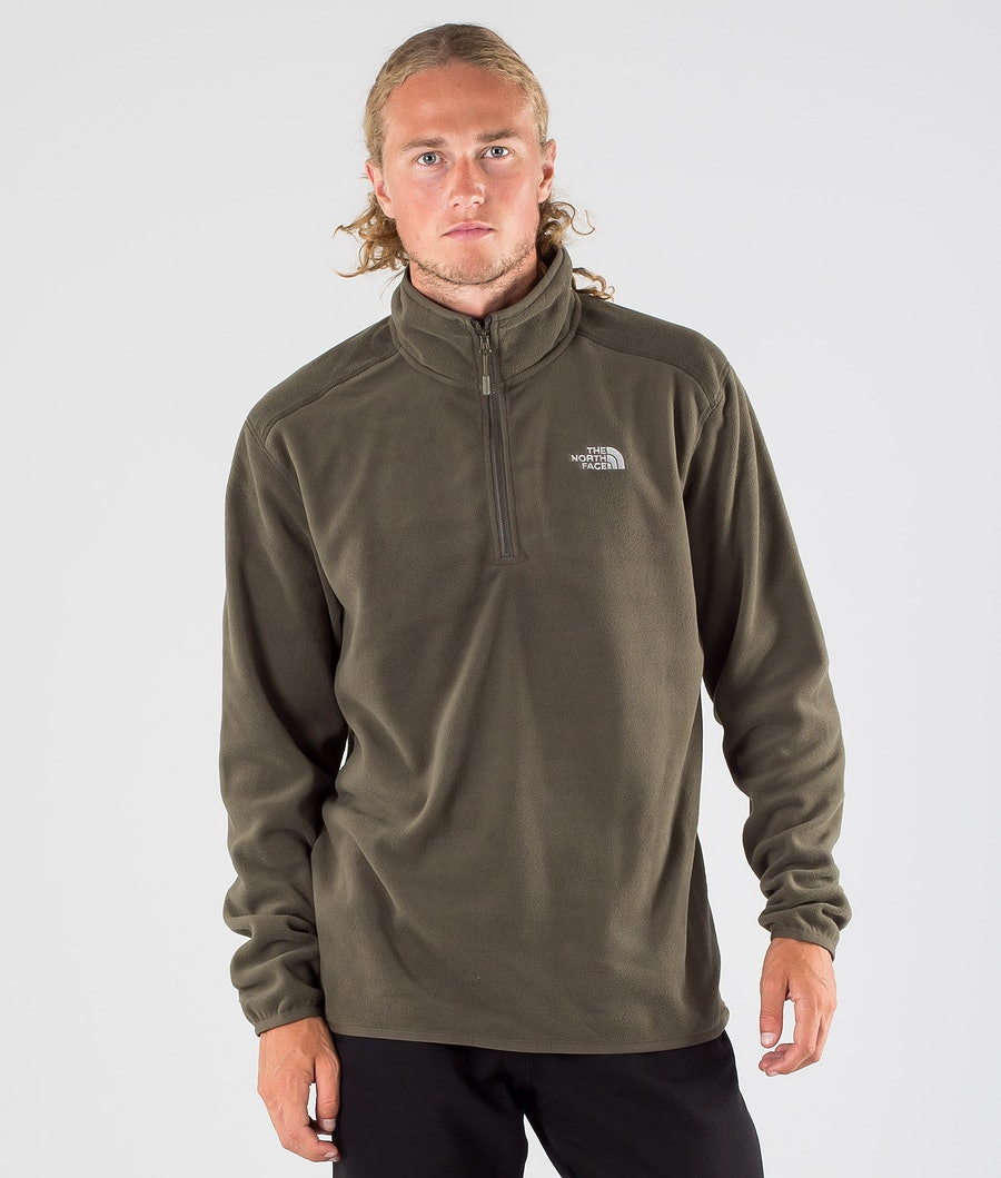 The North Face 100 Glacier 1/4 Zip Sweater New Taupe Green