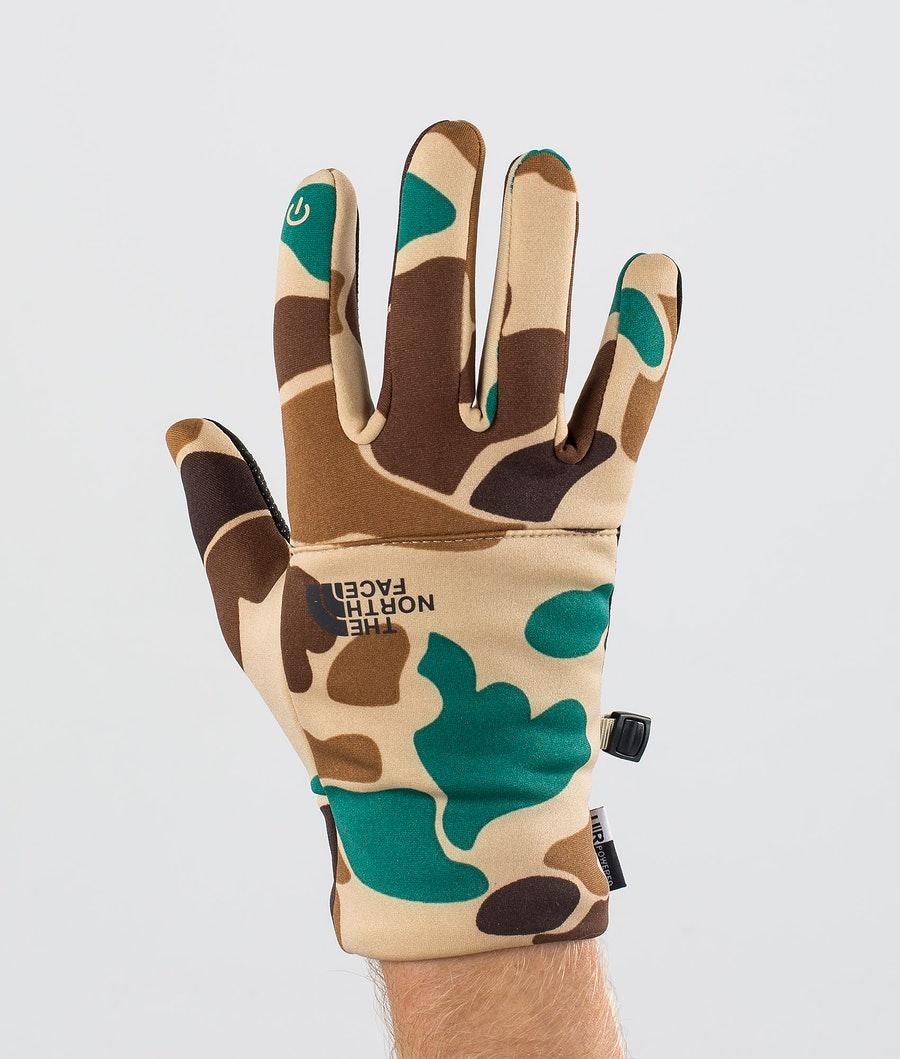 The North Face Etip Recycled Ski Gloves Hawthorne Khaki Duck Camoprt