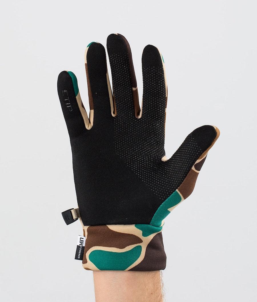 The North Face Etip Recycled Ski Gloves Hawthorne Khaki Duck Camoprt