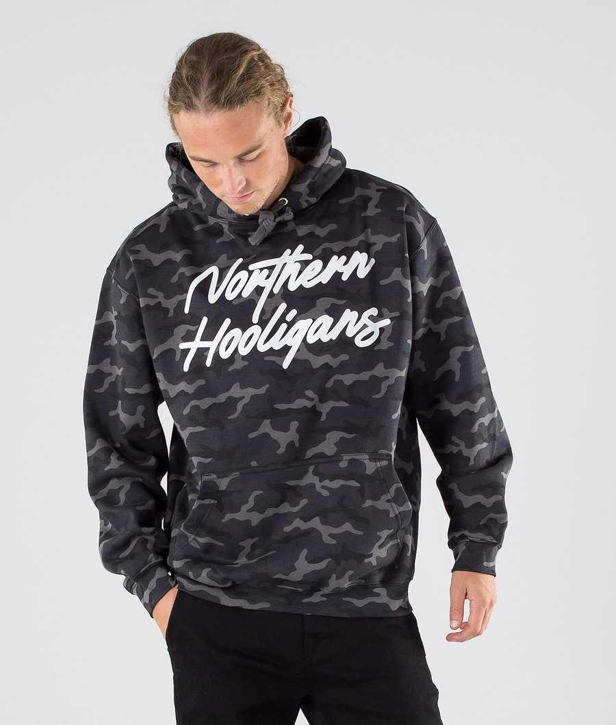 Northern Hooligans Camo Script Hoodie Black Camo