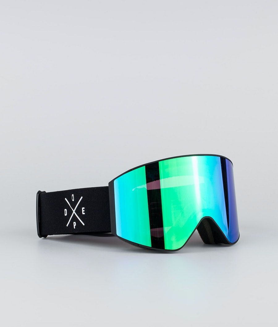 Dope Sight Large Skibriller Black W/Black Green Mirror