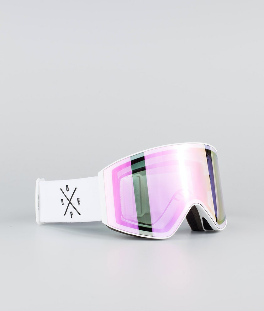 Dope Sight Large Ski Goggle White W/White Pink Mirror