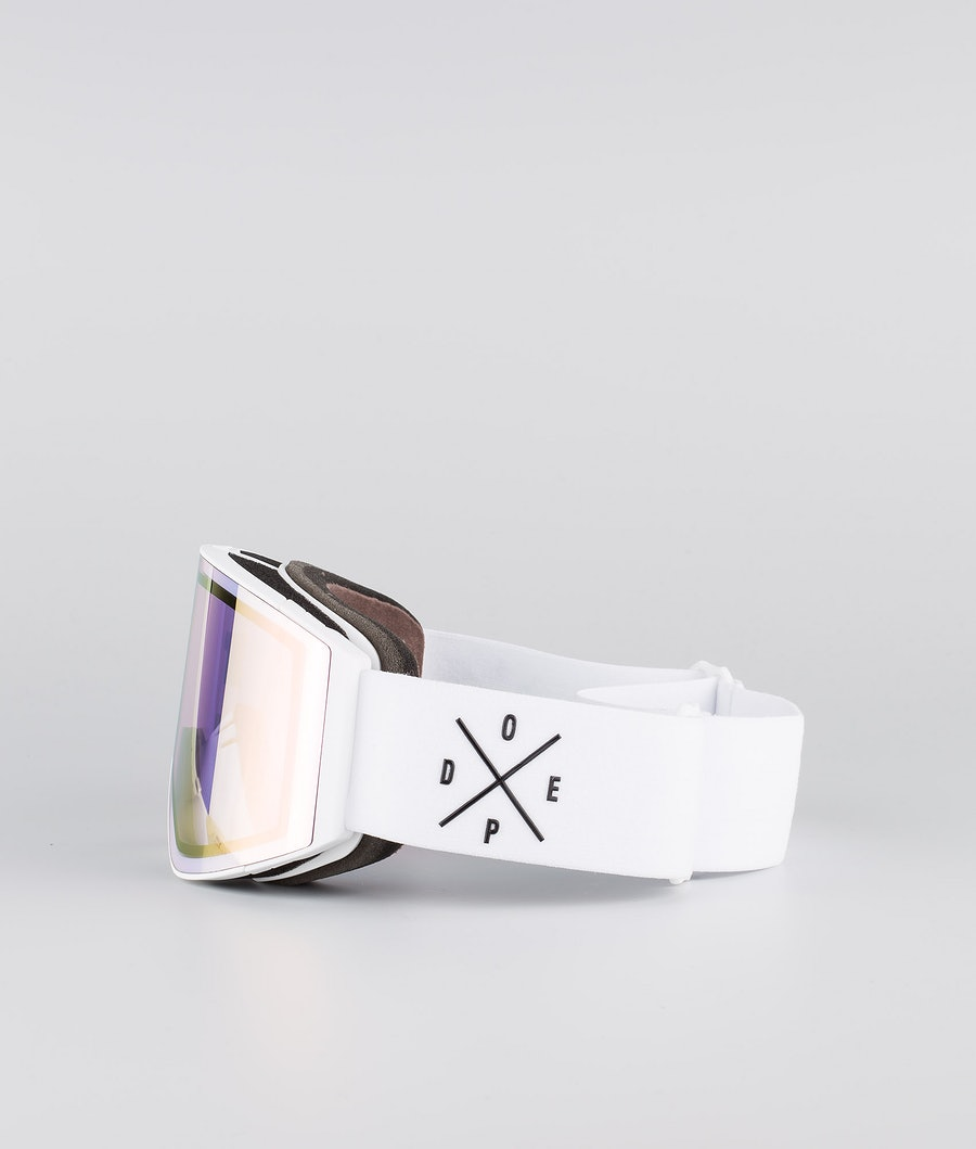 Dope Sight Large Skibrille White W/White Pink Mirror