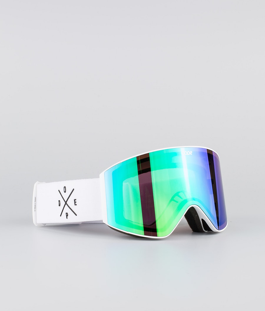 Dope Sight Large Skibrille White W/White Green Mirror
