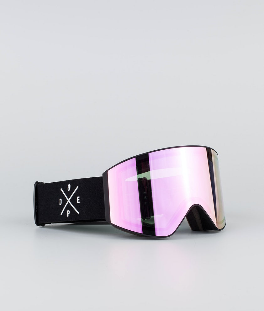 Dope Sight Large Ski Goggle Black W/Black Pink Mirror