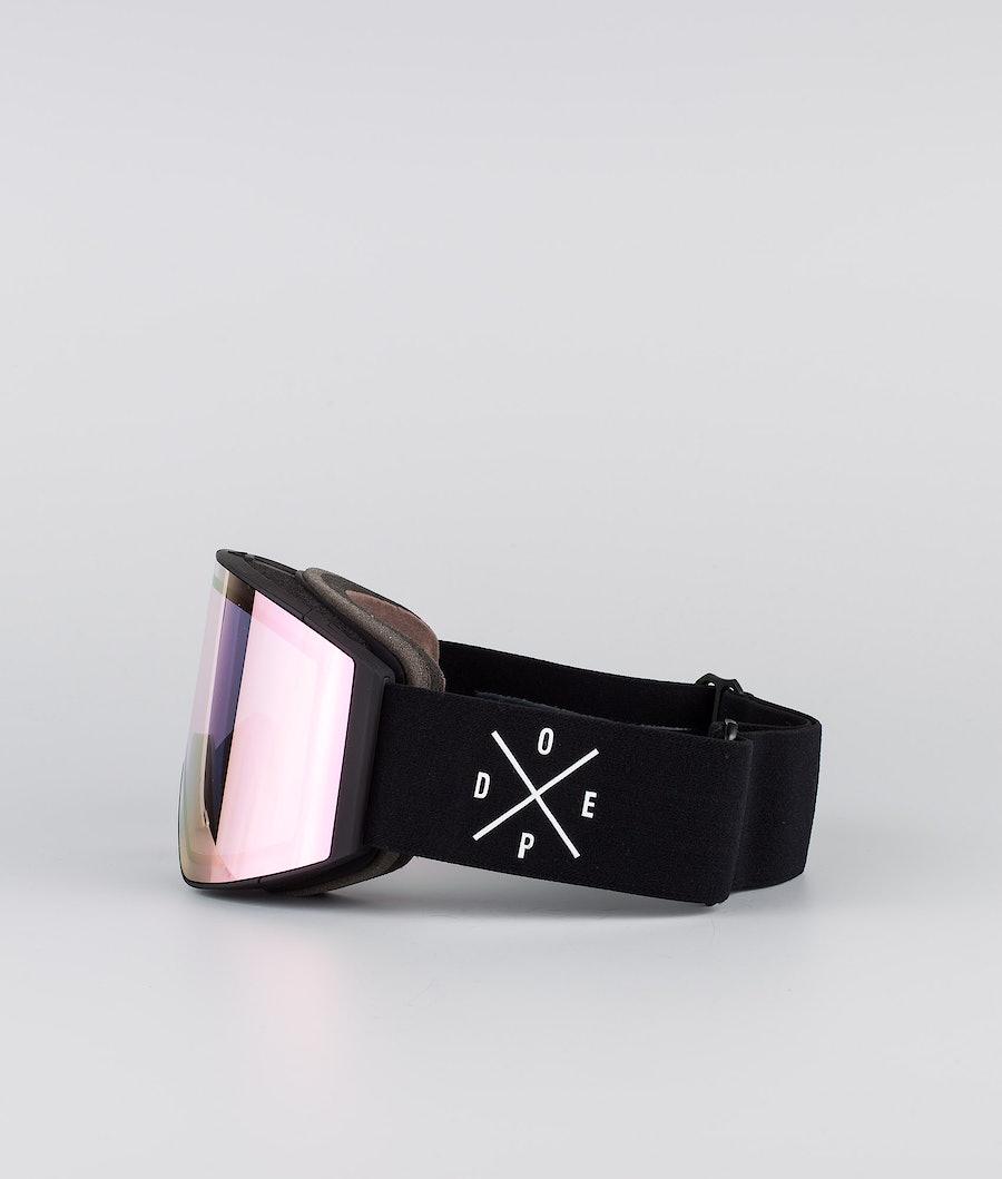 Dope Sight Large Ski Goggle Black W/Black Pink Mirror