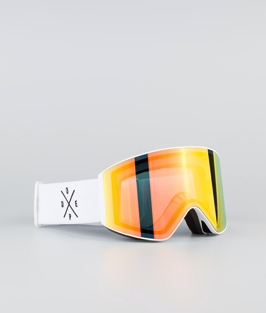 Dope Sight Large Ski Goggle White W/White Red Mirror