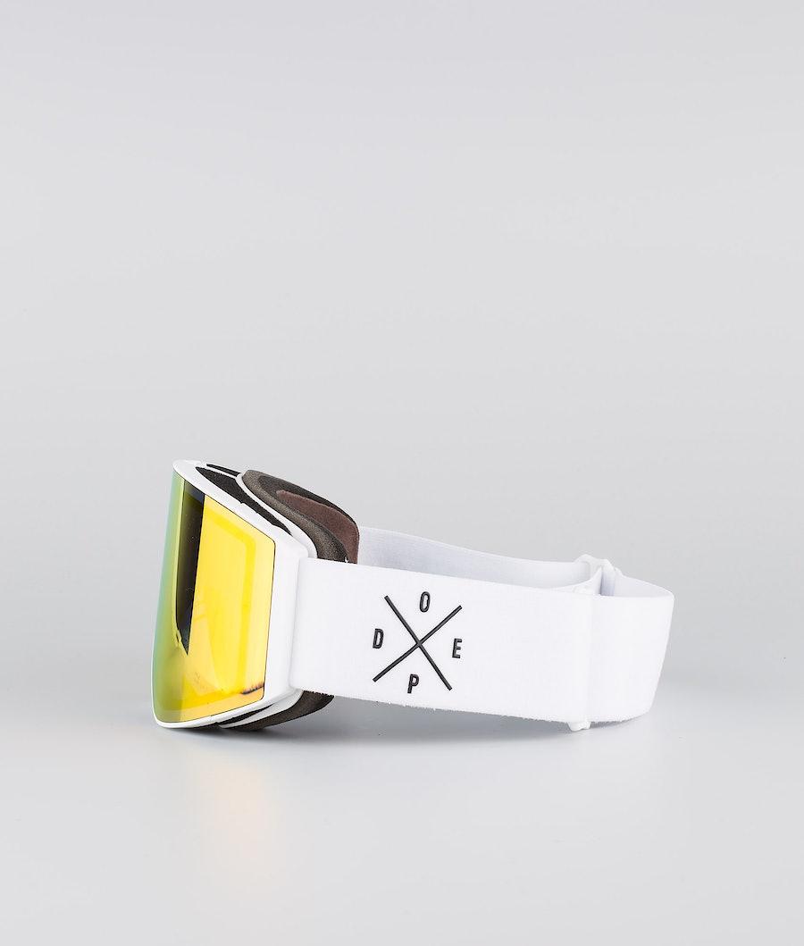 Dope Sight Large Ski Goggle White W/White Red Mirror