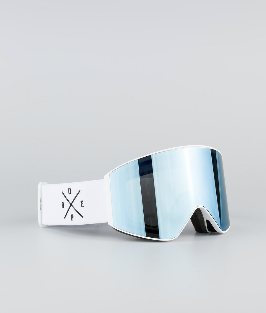 Dope Sight Large Skibrille White W/White Blue Mirror