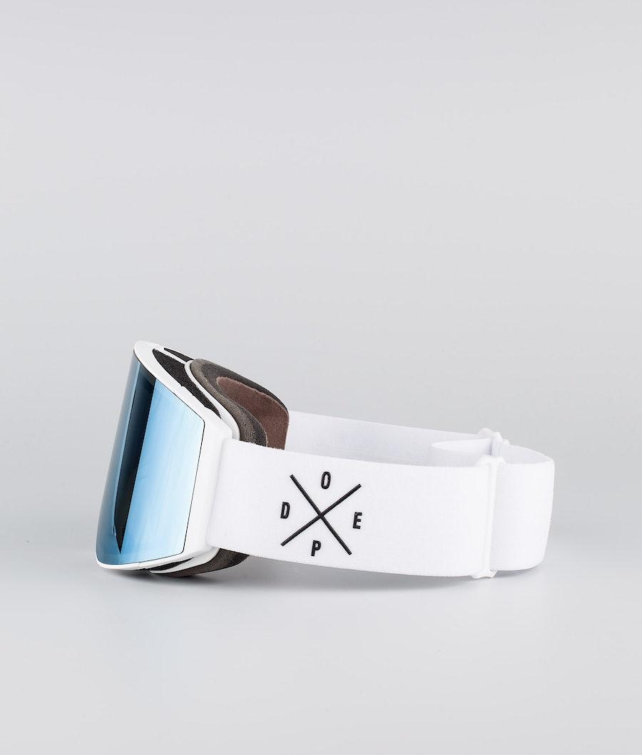 Dope Sight Large Ski Goggle White W/White Blue Mirror