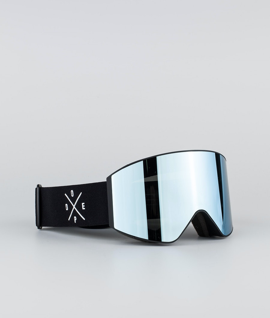 Dope Sight Large Skibriller Black W/Black Blue Mirror