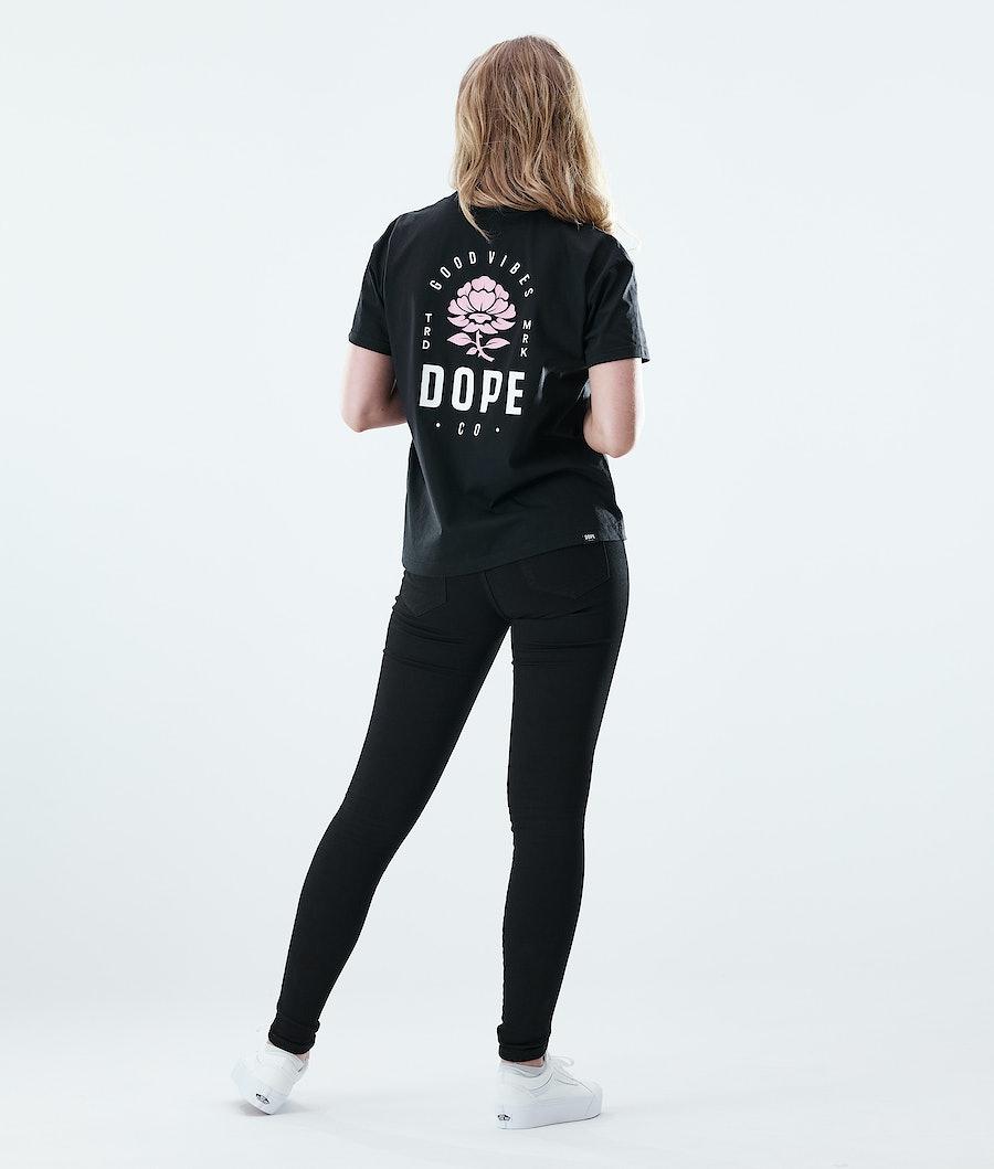 Dope Regular Rose T-shirt Dam Black