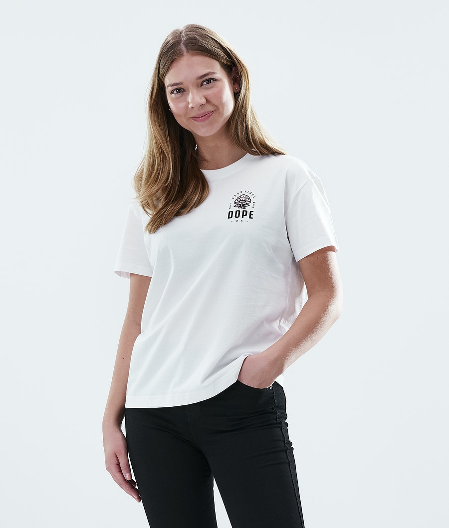 Dope Regular Rose T-shirt Dam White