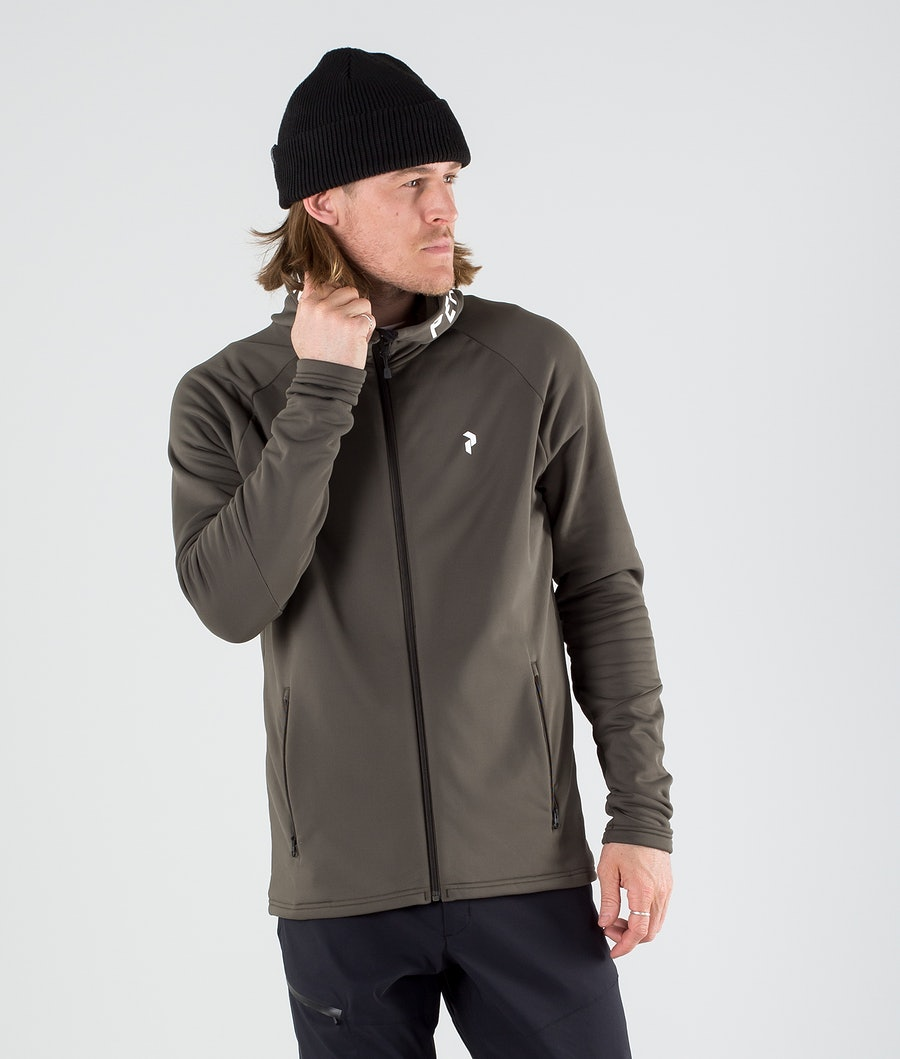 Peak Performance Rider Zip Hoodie Black Olive