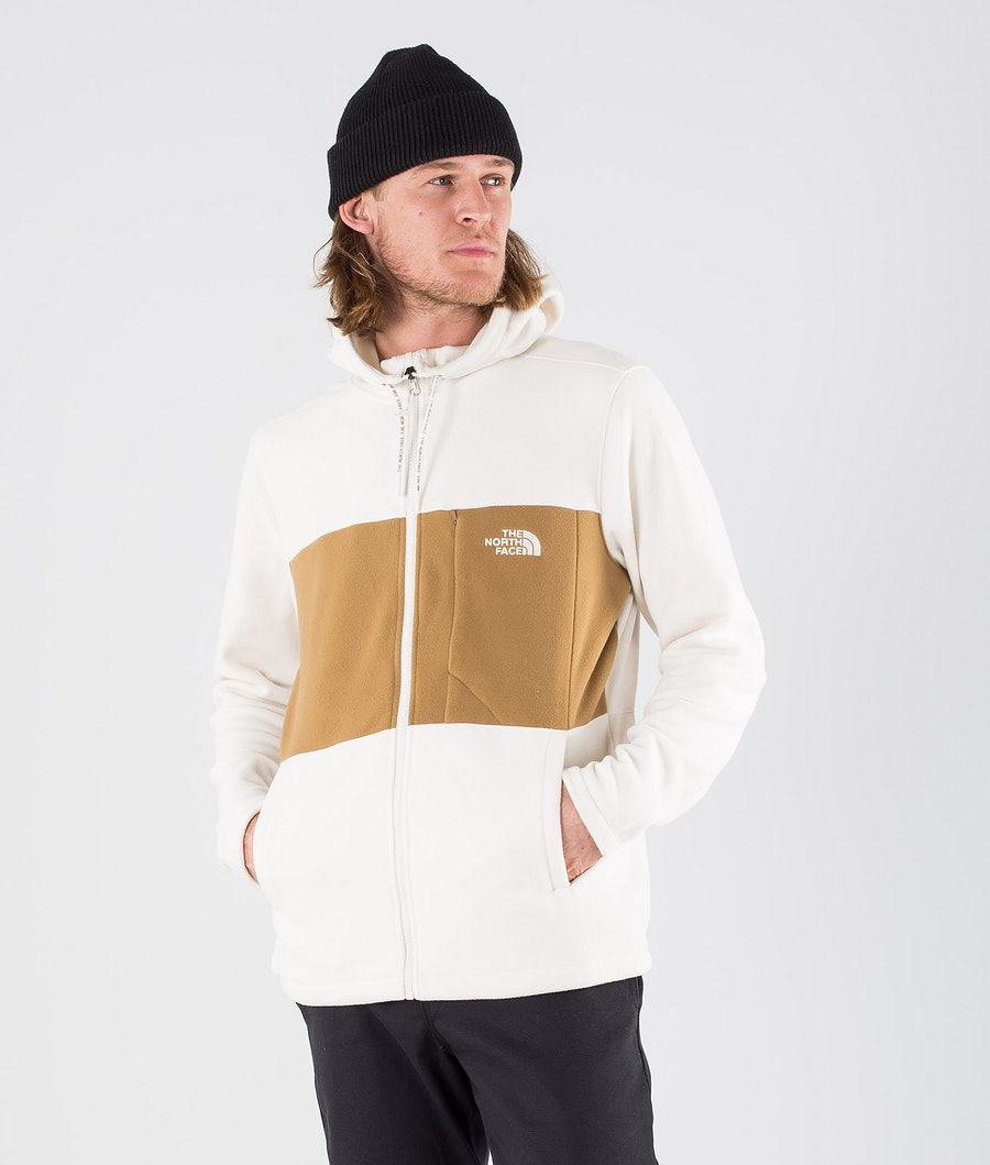 The North Face Blocked TKA 100 Full Zip Felpa Pile Vintage White/Utility Brown