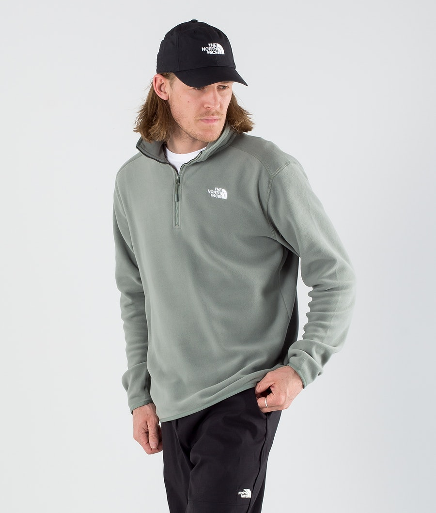 The North Face 100 Glacier 1/4 Zip Fleece Sweater Agave Green