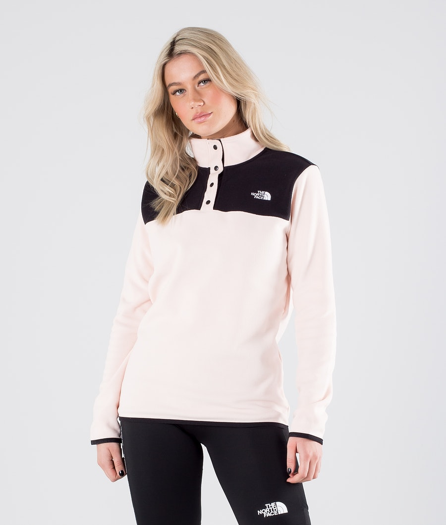 The North Face TKA Glacier Snap-Neck Fleecetröja Pearl Blush/Tnf Black