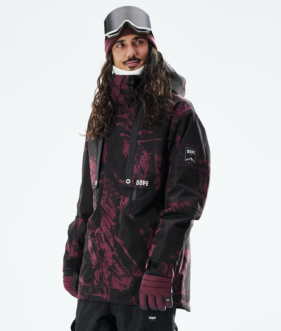 Mojo Snowboard Jacket Men Paint Burgundy