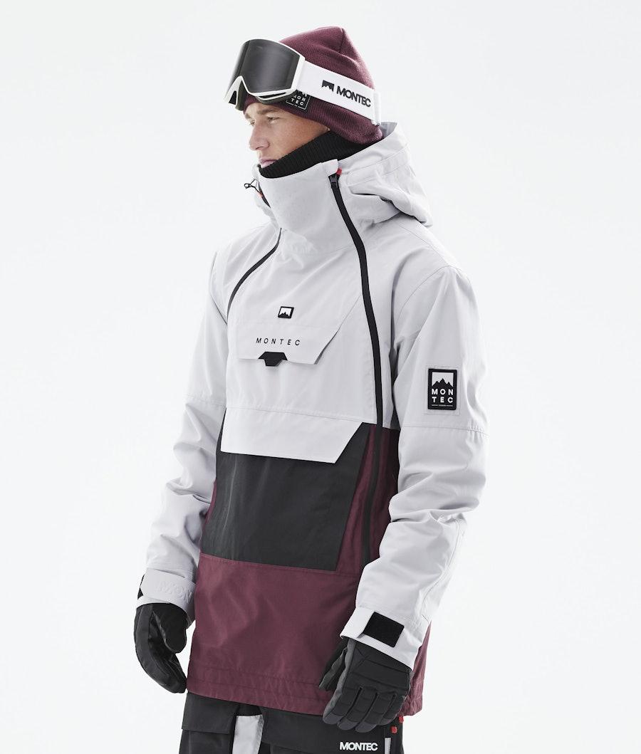 Doom Ski Jacket Men Light Grey/Black/Burgundy