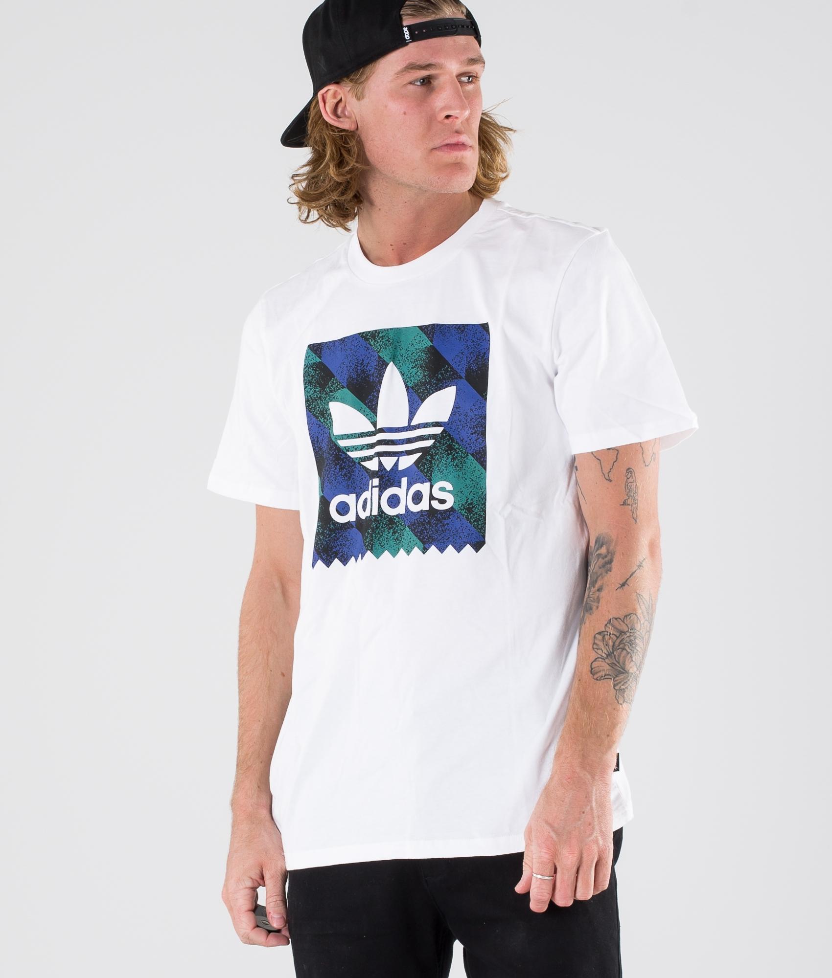 Adidas Skateboarding Towning Bb T shirt WhiteBlackActive BlueActive Green