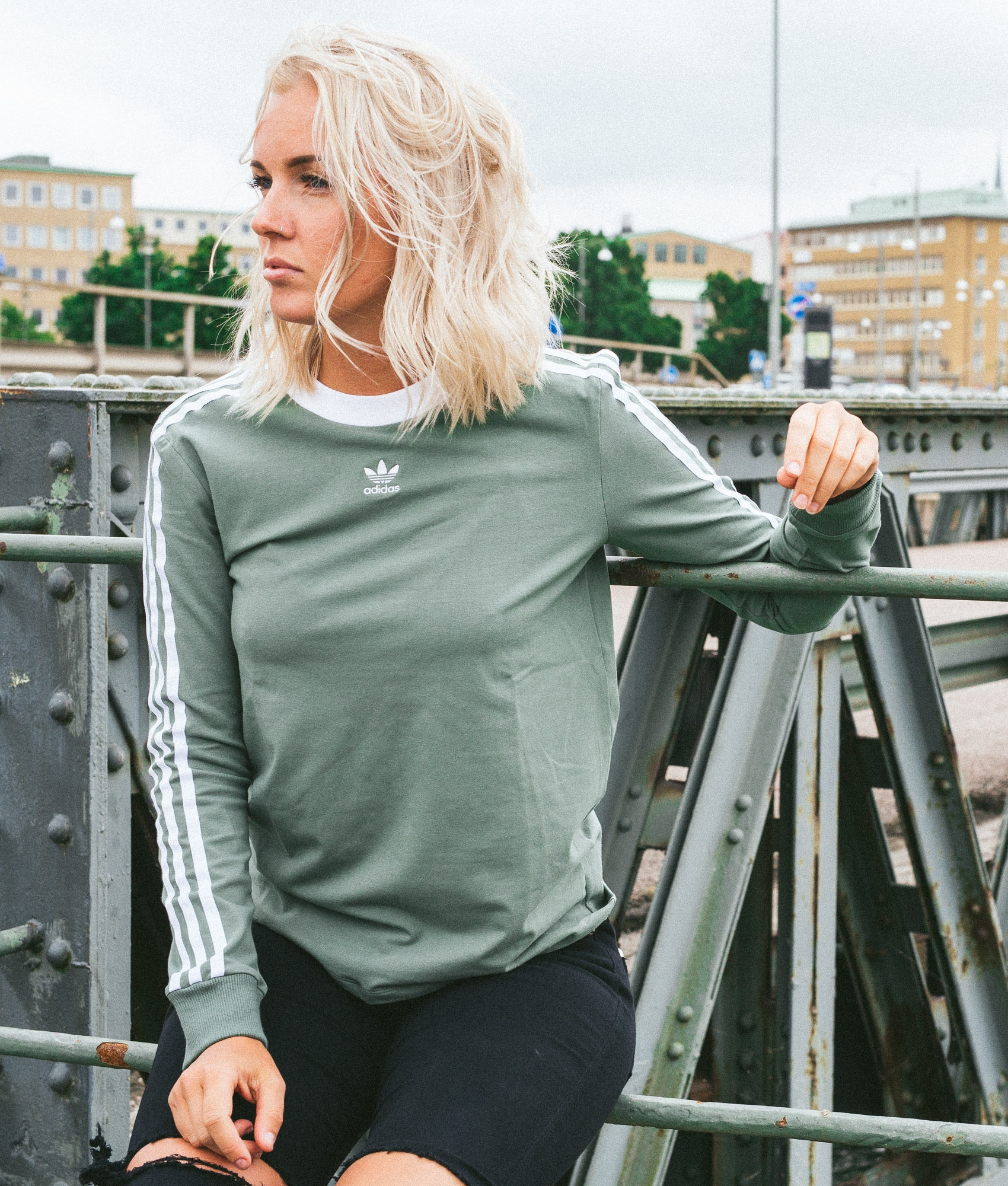 Adidas 3 Stripes Trace Green Longsleeve