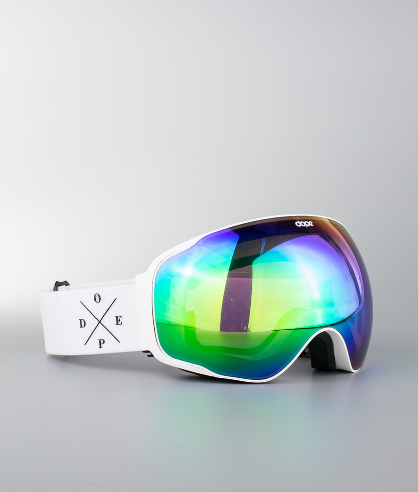 Dope Sphere 2X-UP Ski Goggle White W/White Green Mirror