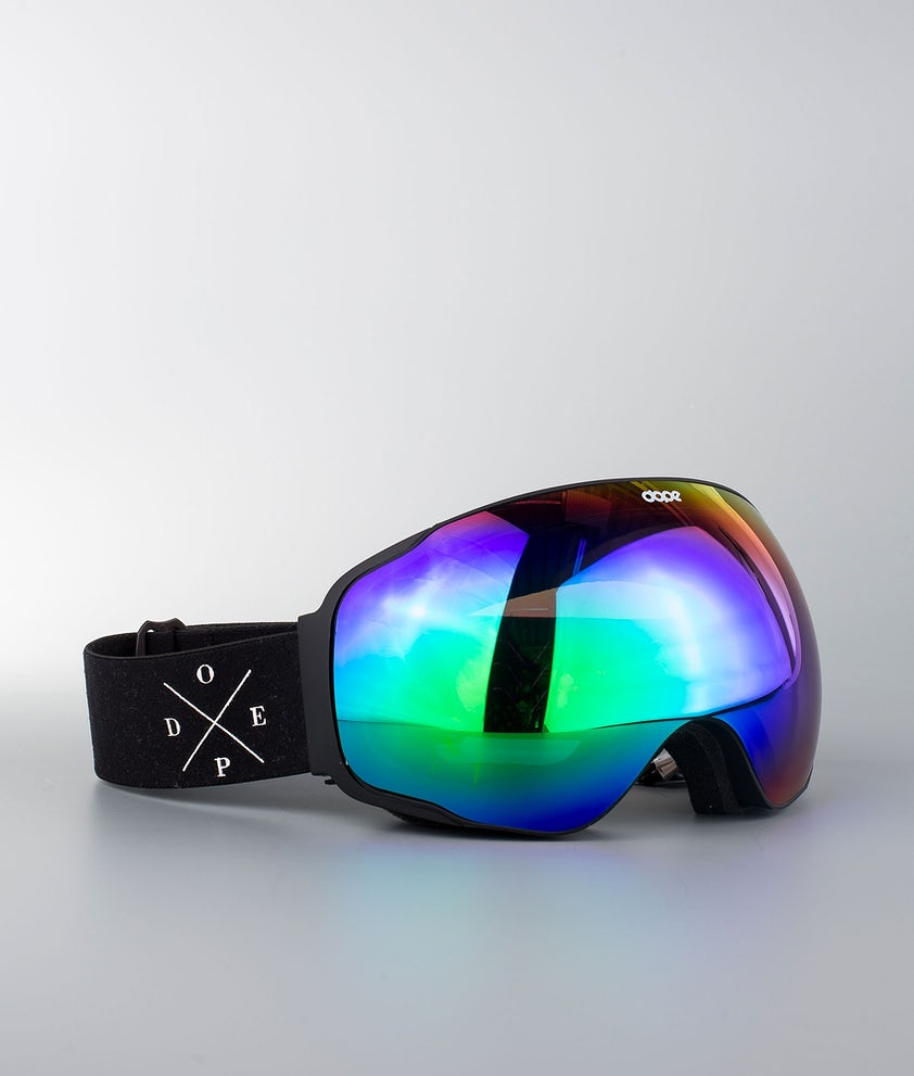 Dope Sphere 2X-UP Ski Goggle Black W/Black Green Mirror