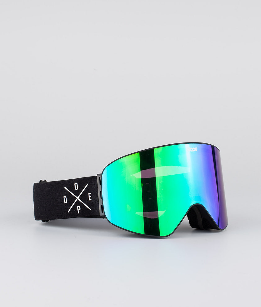 Dope Flush 2X-UP Skibriller Black W/Black Green Mirror