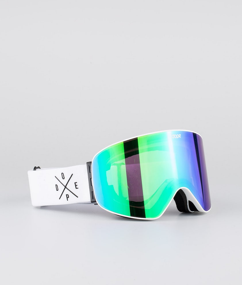 Dope Flush 2X-UP Masque de ski White W/White Green Mirror