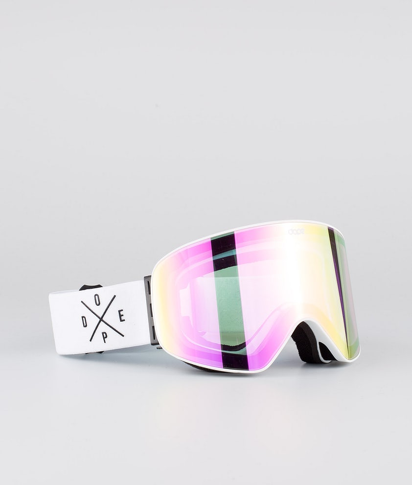 Dope Flush 2X-UP Ski Goggle White W/White Pink Mirror