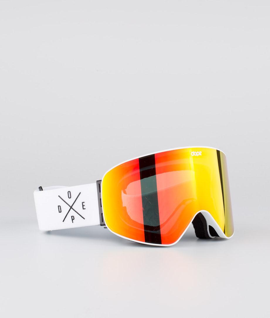 Dope Flush 2X-UP Ski Goggle White W/White Red Mirror
