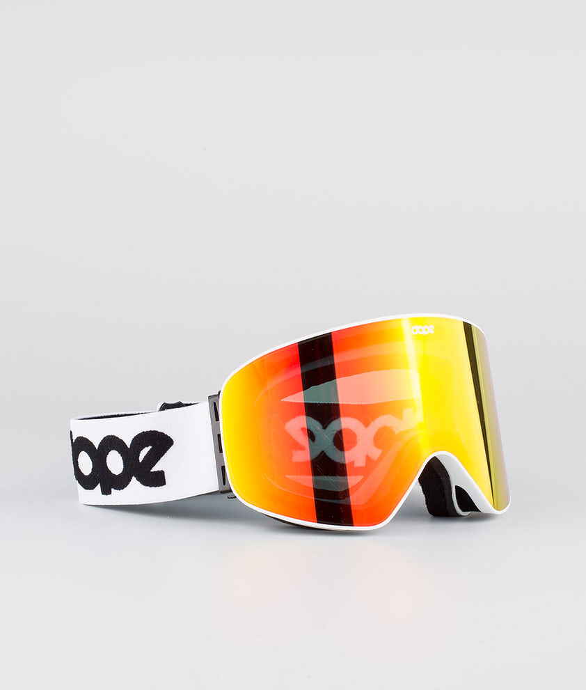 Dope Flush OG Ski Goggle White W/White Red Mirror