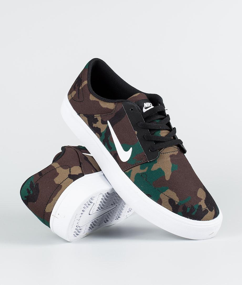 Nike Portmore Cnvs Kengät Black/White - Camo
