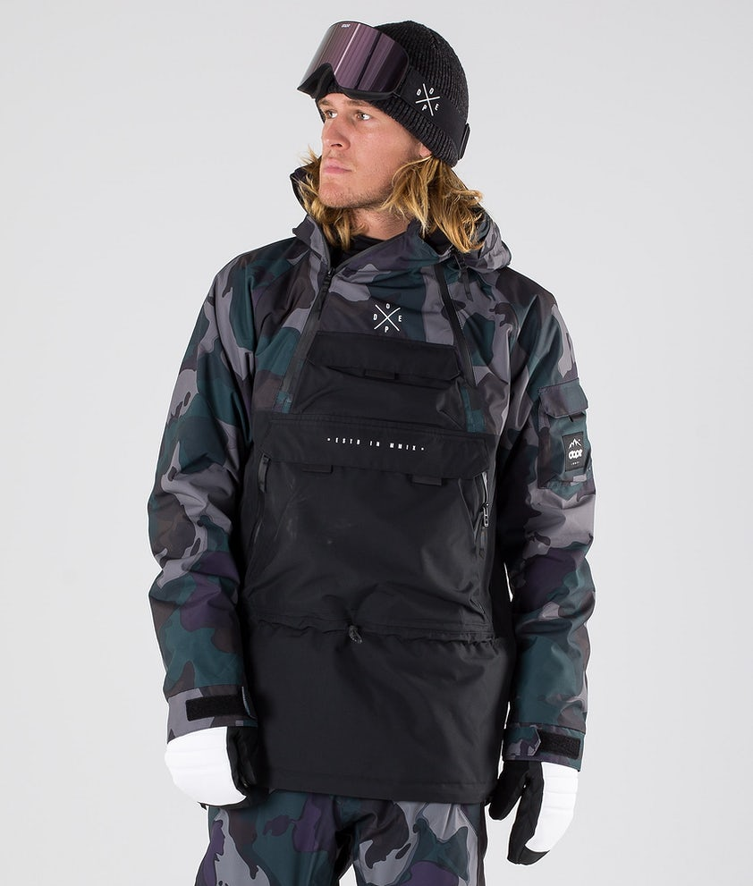 Dope Akin Snowboard Jacket Grape Green Camo