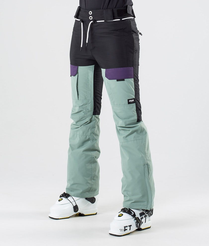 Dope Grace Ski Pants Black Grape Faded Green