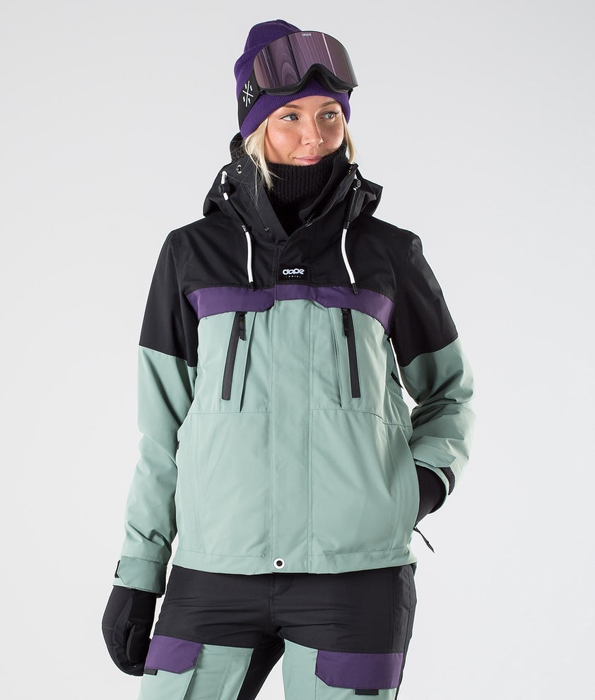 Dope Lunar W Snowboard Jacket Black Grape Faded Green