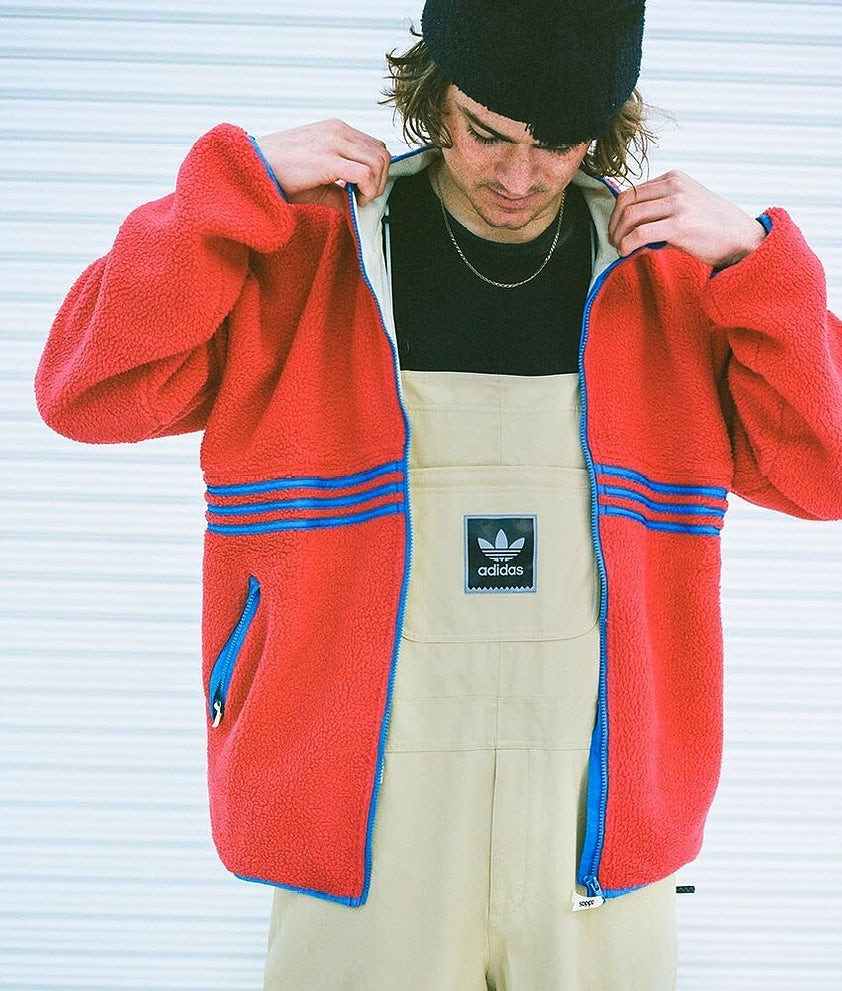 Adidas Snowboarding Sherpa Full Zip Fleece Power Red/Hi-Res Blue S18/Haze Yellow