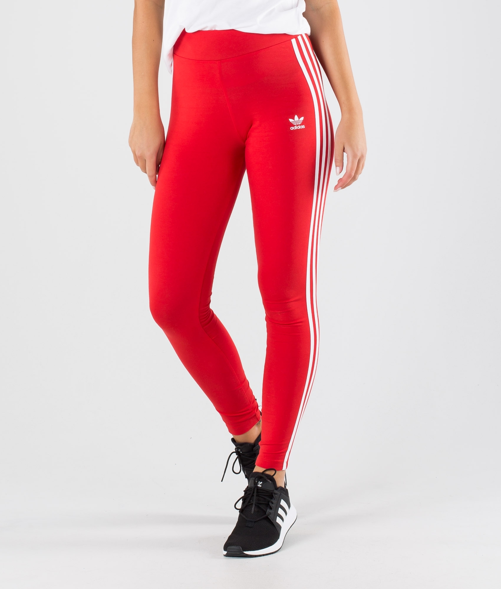 Mamá En el piso Dental  Adidas Originals 3 Stripe Tight Leggings Lush Red/White - Ridestore.com