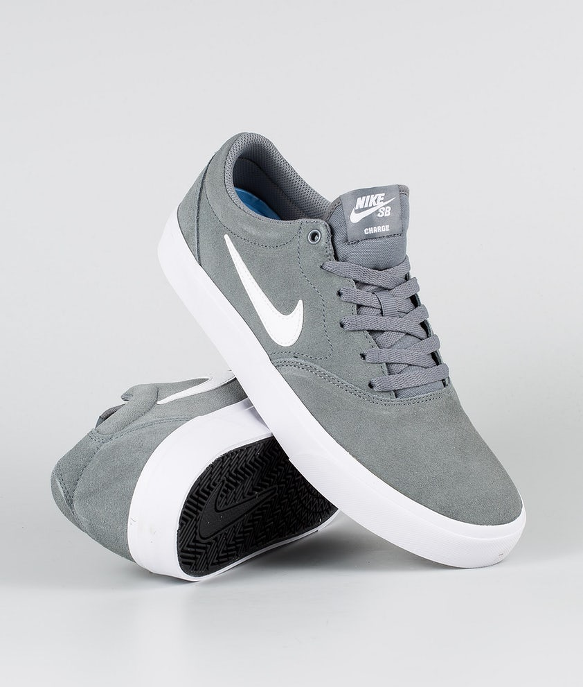 Nike SB Charge Suede Sko Cool Grey/White Cool Grey White