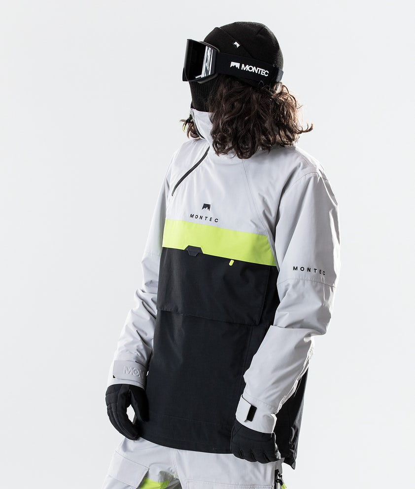 Montec Dune Ski Jacket Light Grey/Neon Yellow/Black