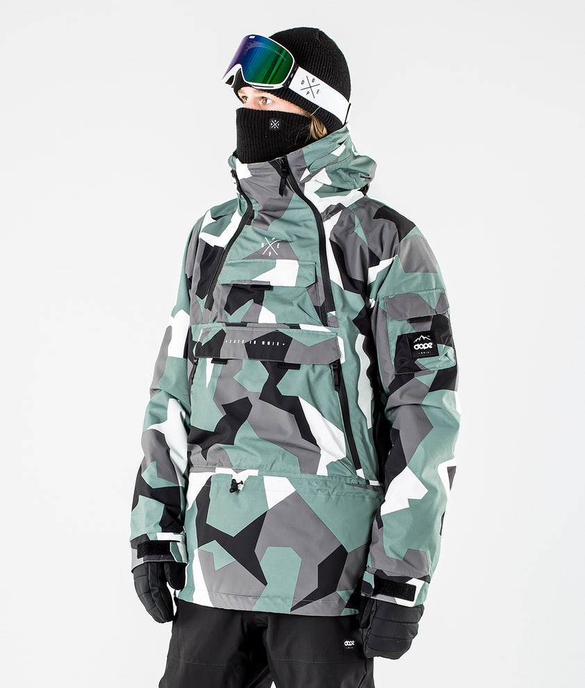Dope Akin Snowboard Jacket Faded Green Camo