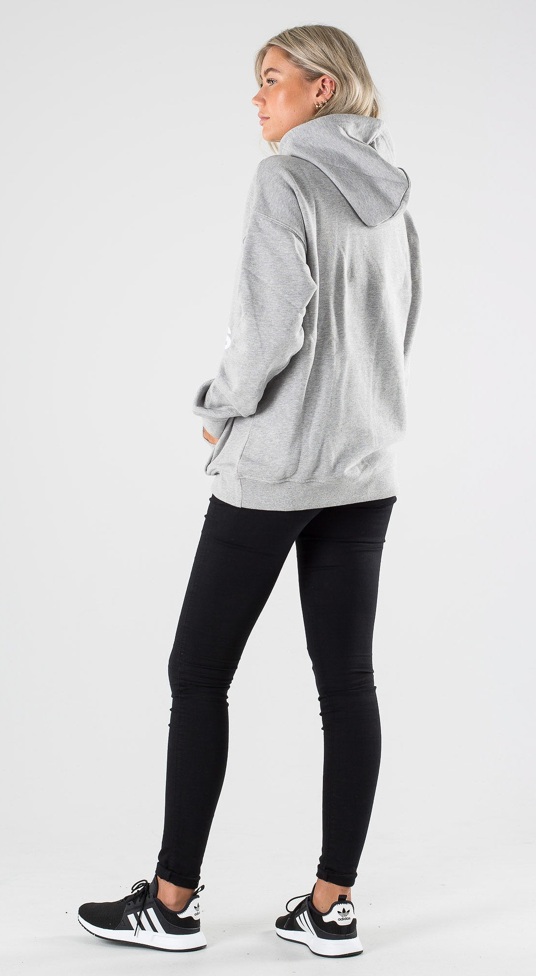 Adidas Originals Trefoil Hoodie Medium Grey Heather White